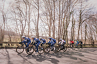 The Team Quickstep Floors race take-over: hijacking it by simply riding off the front of the peloton with 7 (!) riders of the team (and 3 hangers-on holding on for dear life...).<br /> <br /> 50th GP Samyn 2018<br /> Quaregnon &gt; Dour: 200km (BELGIUM)