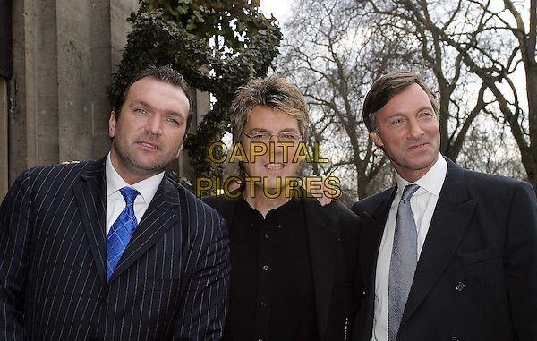 """NEIL """"RAZOR"""" RUDDOCK, MIKE REID & LORD CHARLES BROCKETT.TRIC Awards at Le Meridien Grosvenor House.09 March 2004.www.capitalpictures.com.sales@capitalpictures.com.© Capital Pictures."""