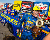 Oct 1, 2017; Madison , IL, USA; NHRA funny car driver Ron Capps celebrates after winning the Midwest Nationals at Gateway Motorsports Park. Mandatory Credit: Mark J. Rebilas-USA TODAY Sports