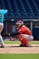 Washington Nationals catcher Onix Vega (19) during an Instructional League game against the Miami Marlins on September 26, 2019 at FITTEAM Ballpark of The Palm Beaches in Palm Beach, Florida.  (Mike Janes/Four Seam Images)