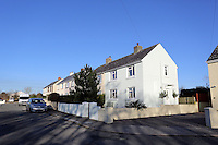 COPY BY TOM BEDFORD<br /> Pictured: The row of houses where the masked wagtail is seen in the village of Camrose, west Wales, UK. Wednesday 30 November 2016<br /> Re: Birdwatchers from all over Britain have turned up in a tiny Welsh village to see the first recorded visit of a masked wagtail.<br /> The species is normally found in Kazakhstan, Iran and Afghanistan but may have been brought here by the icy temperatures.<br /> It was spotted on the roof of a semi-detached house in Camrose, Pembrokeshire, yesterday(tues) but local birdwatchers were unable to identify it.<br /> An expert arrived and the bird was confirmed as the masked wagtail which has never been seen before in the British Isles.<br /> More than 40 twitchers drove through the night and slept in their cars to get the first glimpse of the bird seen flying between chimney pots in the village.<br /> Police were called because so many visitors turned up in the village, blocking country lanes and disturbing locals.<br /> But most locals welcomed the  birdwatchers, even making them cups of tea as they kept watch on the bird with binoculars and cameras.