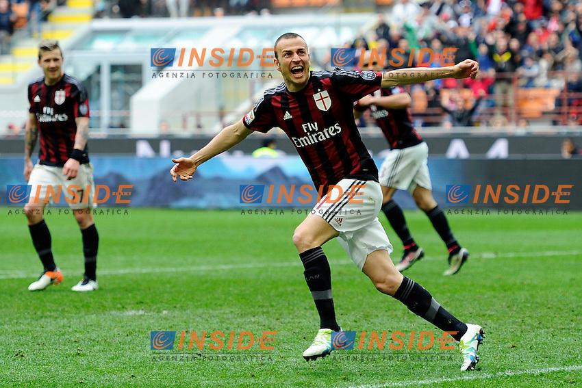 Esultanza gol di Luca Antonelli Milan 2-3. Celebration goal<br /> Milano 01-05-2016 Stadio Giuseppe Meazza - Football Calcio Serie A Milan - Frosinone. Foto Giuseppe Celeste / Insidefoto