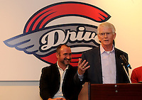 Craig Brown, president and co-owner of the Greenville Drive, speaks to fans of the Drive at the team's annual Hot Stove Event on Tuesday, January 29, 2013, in Greenville, South Carolina. Behind him is Mike deMaine, the team's general manager. (Tom Priddy/Four Seam Images)