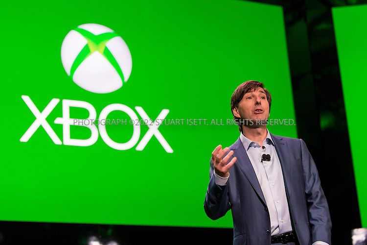 5/21/2013--Redmond, WA, USA..At Microsoft's Redmond Campus in WASH., the company unveiled it's next generation XBox gaming system, the XBox One. The console's new features include voice command, cloud integration, universal gestures and the familiar Xbox Live home screen...Here, Don Mattrick, President of the Interactive Entertainment Business at Microsoft, introduces the new console to the media and Microsoft staff...Photograph ©2013 Stuart Isett. All rights reserved.