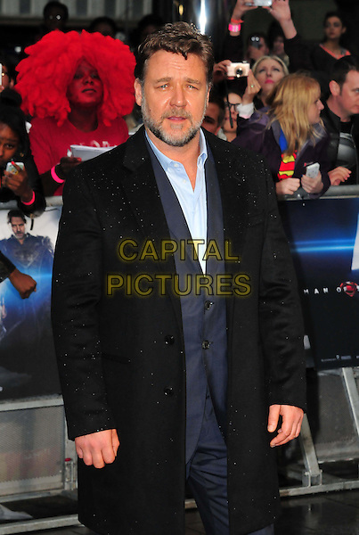 Russell Crowe<br /> 'Man Of Steel' UK film premiere, Empire cinema, Leicester Square, London, England.<br /> 12th June 2013<br /> half length black blue shirt beard facial hair<br /> CAP/BF<br /> &copy;Bob Fidgeon/Capital Pictures