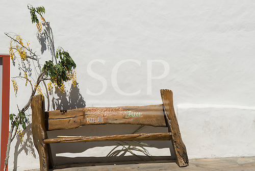 Goias Velho, Brazil. Well preserved colonial town; bench of unfinished wood.