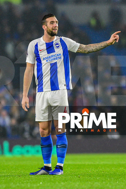 Shane Duffy of Brighton & Hove Albion (4)  during the Premier League match between Brighton and Hove Albion and Leicester City at the American Express Community Stadium, Brighton and Hove, England on 24 November 2018. Photo by Edward Thomas / PRiME Media Images.