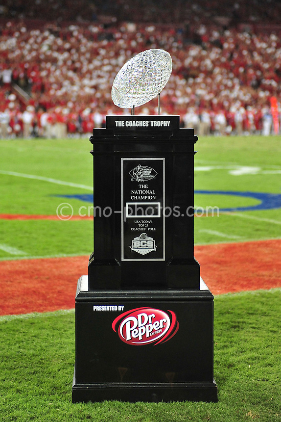 Sept 18, 2010; Tucson, AZ, USA; The BCS National Championship Trophy sits on the sidelines of a game between the Iowa Hawkeyes and the Arizona Wildcats at Arizona Stadium.  Arizona won the game 34-27.