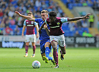 Cardiff City's Joe Ralls battles with Aston Villa's Joshua Onomah<br /> <br /> Photographer Ashley Crowden/CameraSport<br /> <br /> The EFL Sky Bet Championship - Cardiff City v Aston Villa - Saturday August 12th 2017 - Cardiff City Stadium - Cardiff<br /> <br /> World Copyright &copy; 2017 CameraSport. All rights reserved. 43 Linden Ave. Countesthorpe. Leicester. England. LE8 5PG - Tel: +44 (0) 116 277 4147 - admin@camerasport.com - www.camerasport.com