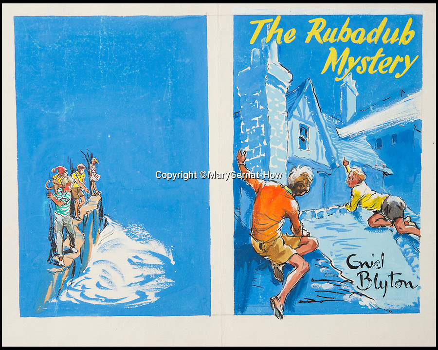 BNPS.co.uk (01202 558833)<br /> Pic: MaryGernat-How/BNPS<br /> <br /> ***Single Use - Not For Archive***<br /> <br /> Mary's original artwork's for many different Blyton adventures.<br /> <br /> The real family behind Enid Blyton's iconic book covers has been revealed for the first time thanks to a hidden archive of sketches and family photos.<br /> <br /> Mary Gernat, who created the paperback covers for about 100 children's books in the 1960s, would get her young sons to stop mid-play and pose for her while she quickly sketched ideas for books like The Famous Five, the Secret Series, St Clare's and Malory Towers.<br /> <br /> Her son Roger How, 58, has now unveiled some of his mother's never-seen-before original sketches and finished book drafts which capture the classic images of childhood adventure he and his brothers helped create.