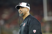 Stanford, CA - November 26, 2016: Diron Reynolds, coach, during the Stanford vs Rice game Saturday at Stanford Stadium.<br /> <br /> Stanford won 41- 17.