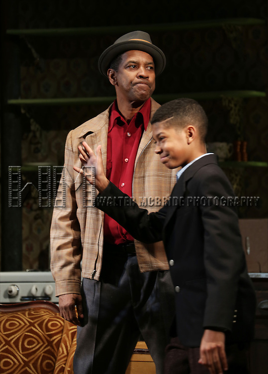 "Denzel Washngton and Bryce Clyde Jenkins during the Broadway Opening Night Curtain Call for  ""A Raisin In The Sun""  at the Barrymore Theatre on April 3, 2014 in New York City."