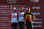 Lotto-Soudal Ladies at sign on before the Strade Bianche Women Elite 2019 running 133km from Siena to Siena, held over the white gravel roads of Tuscany, Italy. 9th March 2019.<br /> Picture: Seamus Yore | Cyclefile<br /> <br /> <br /> All photos usage must carry mandatory copyright credit (© Cyclefile | Seamus Yore)