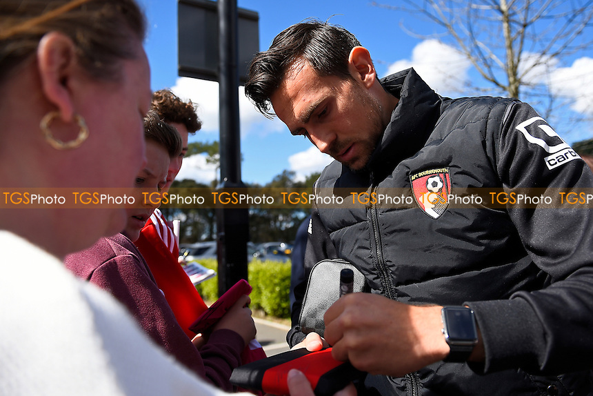 Charlie Daniels of AFC Bournemouth signs an autograph during AFC Bournemouth vs Liverpool, Barclays Premier League Football at the Vitality Stadium on 17th April 2016