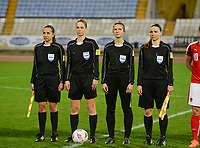 20180228 - LARNACA , CYPRUS : referees pictured with assistant referees Smollkova (slo) , Jana Zaplatilova (cze) , referee Petra Pavlikova (slovakia) and 4th official Oleksandra Vdovina during a women's soccer game between Spain and Austria , on wednesday 28 February 2018 at GSZ Stadium in Larnaca , Cyprus . This is the first game in group B for Spain and Austria during the Cyprus Womens Cup , a prestigious women soccer tournament as a preparation on the World Cup 2019 qualification duels. PHOTO SPORTPIX.BE | DAVID CATRY