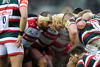 John Afoa of Gloucester Rugby prepares to scrummage against his opposite number. Aviva Premiership match, between Leicester Tigers and Gloucester Rugby on February 11, 2017 at Welford Road in Leicester, England. Photo by: Patrick Khachfe / JMP