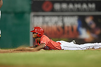Batavia Muckdogs center fielder Brayan Hernandez (18) slides into second base during a game against the West Virginia Black Bears on July 3, 2018 at Dwyer Stadium in Batavia, New York.  Batavia defeated West Virginia 5-4.  (Mike Janes/Four Seam Images)