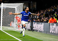 1st February 2020; Vicarage Road, Watford, Hertfordshire, England; English Premier League Football, Watford versus Everton; Theo Walcott of Everton celebrates after scoring his sides 3rd goal in the 90th minute to make it 3-2