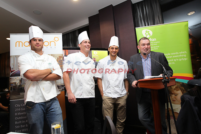 Ty Hafan Celebrity Chef.Jamie Roberts, Simon Jones, Nathan Cleverly & Frank Ady..Maldron Hotel.26.09.12.©Steve Pope