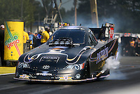 Aug. 2, 2014; Kent, WA, USA; NHRA funny car driver Alexis DeJoria during qualifying for the Northwest Nationals at Pacific Raceways. Mandatory Credit: Mark J. Rebilas-