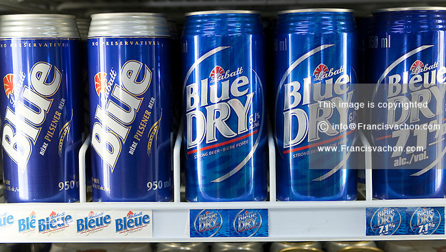 Labatt Blue and blue Dry beer cans are seen on display in a convenient store in Quebec City February 26, 2009