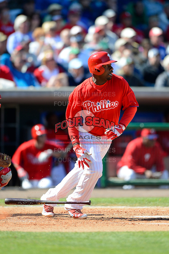 Philadelphia Phillies first baseman Ryan Howard #6 during a Spring Training game against the Washington Nationals at Bright House Field on March 6, 2013 in Clearwater, Florida.  Philadelphia defeated Washington 6-3.  (Mike Janes/Four Seam Images)