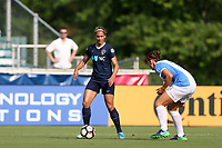 Cary, North Carolina  - Saturday April 29, 2017: Lynn Williams (left) and Laura Alleway (right) during a regular season National Women's Soccer League (NWSL) match between the North Carolina Courage and the Orlando Pride at Sahlen's Stadium at WakeMed Soccer Park.