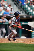 Pawtucket Red Sox Tzu-Wei Lin (5) at bat during an International League game against the Buffalo Bisons on August 25, 2019 at Sahlen Field in Buffalo, New York.  Buffalo defeated Pawtucket 5-4 in 11 innings.  (Mike Janes/Four Seam Images)