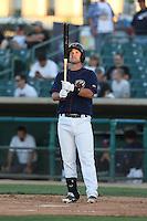 Conrad Gregor #16 of the Lancaster JetHawks bats against the Stockton Ports at The Hanger on June 24, 2014 in Lancaster, California. Stockton defeated Lancaster, 6-4. (Larry Goren/Four Seam Images)