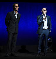 LAS VEGAS, NV - APRIL 23: Actor Matthew McConaughey (L) and Producer Jeff Robinov  onstage at the Sony Pictures Entertainment presentation at CinemaCon 2018 at The Colosseum at Caesars Palace on April 23, 2018 in Las Vegas, Nevada. (Photo by Frank Micelotta/PictureGroup)
