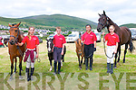 Julie Popovich, Ciraran Fitzgerald, Keely Long and Zoe Reichenbach with horses from the Sea View Equestrian Centre (Ballinloughig, Baile na nGall) at the Horse and Pony show during the West Kerry Agricultural Show at the Dingle Mart grounds on Sunday afternoon.