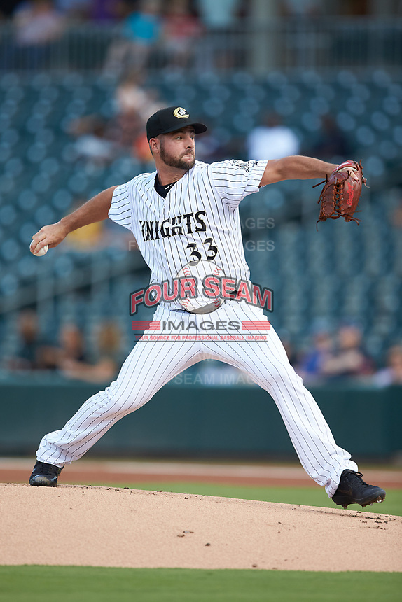 Charlotte Knights starting pitcher Donny Roach (33) in action against the Scranton/Wilkes-Barre RailRiders at BB&T BallPark on August 14, 2019 in Charlotte, North Carolina. The Knights defeated the RailRiders 13-12 in ten innings. (Brian Westerholt/Four Seam Images)
