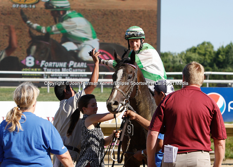 July 5, 2014: Fortune Pearl, trained by Graham Motion and ridden by Trevor McCarthy, wins the Grade II Delaware Oalks at Delaware Park in Stanton Delaware. She is owned by Lawrence Stable Inc. Joan Fairman Kanes/ESW/CSM