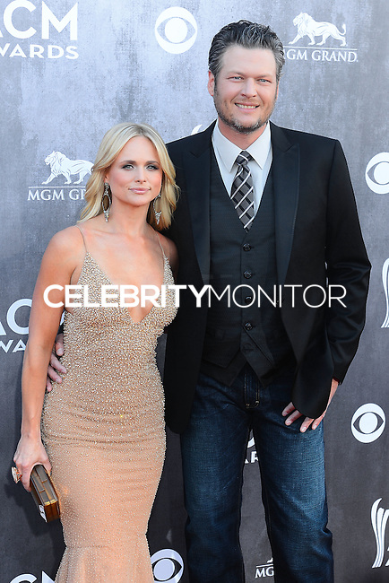 LAS VEGAS, NV, USA - APRIL 06: Miranda Lambert, Blake Shelton at the 49th Annual Academy Of Country Music Awards held at the MGM Grand Garden Arena on April 6, 2014 in Las Vegas, Nevada, United States. (Photo by Celebrity Monitor)