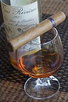 France/DOM/Martinique/Le François: Hôtel Cap Est Lagoon Resort & Spa - Octave Bonheur chef Barman du bar à rhum le Cohi Bar marie cigares et Vieux rhums Rhum Trois Rivières 1969 et cigare Punch Habana