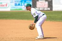 Beloit Snappers first baseman JJ Schwarz (29) during a Midwest League game against the Cedar Rapids Kernels on June 2, 2019 at Pohlman Field in Beloit, Wisconsin. Beloit defeated Cedar Rapids 6-1. (Brad Krause/Four Seam Images)