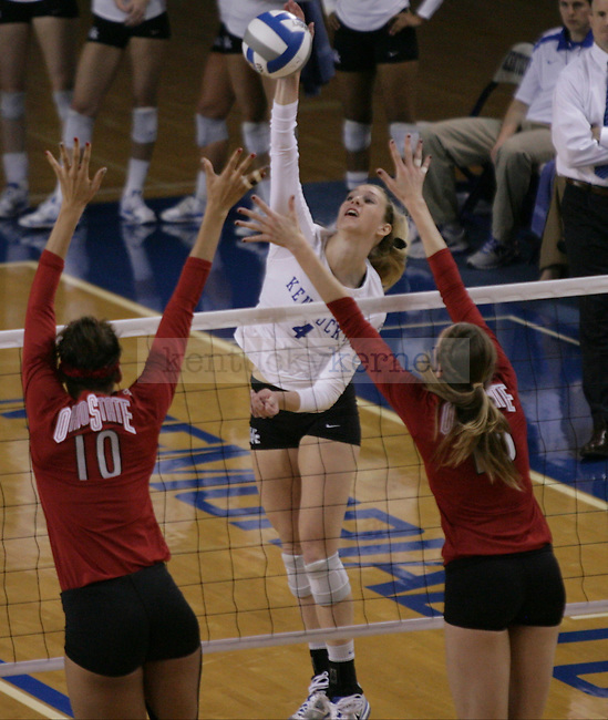Senior Ashley Frazier (4) kills the ball during the University of Kentucky vs Ohio State University in the second round of the NCAA Volleyball Tournament in Lexington, Ky., on, 12/1/2012. Photo by Jared Glover | Staff