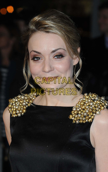 CHRISTINE BOTTOMLEY.London Critics' Circle Film Awards at BFI Southbank, London, England..February 10th 2011.ALFS headshot portrait black gold shoulder epaulettes beads beaded pearls sleeveless.CAP/WIZ.© Wizard/Capital Pictures.