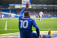 Kenneth Zohore of Cardiff City hold his hamstring and appeals for treatment during the Sky Bet Championship match between Cardiff City and Derby County at Cardiff City Stadium, Cardiff, Wales on 30 September 2017. Photo by Mark  Hawkins / PRiME Media Images.