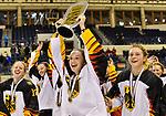 09.01.2020, BLZ Arena, Füssen / Fuessen, GER, IIHF Ice Hockey U18 Women's World Championship DIV I Group A, <br /> Siegerehrung, <br /> im Bild Daniela Kolbeck (GER, #17), Fine Raschke (GER, #19), Lisa Heinz (GER, #3) jubeln und praesentieren den Pokal den Fans<br /> <br /> Foto © nordphoto / Hafner