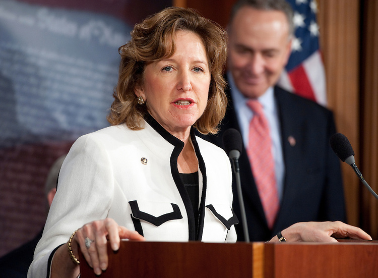 UNITED STATES – DECEMBER 7: Sen. Kay Hagan, D-N.C., speaks during a news conference with fellow members of the Senate Banking Committee on Republican opposition to Richard Cordray's nomination to head the Consumer Financial Protection Bureau on Wednesday, Dec. 7, 2011. (Photo By Bill Clark/CQ Roll Call)