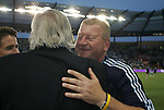 09 June 2011: Kansas City trainer Chet North (right) hugs owner Pat Curran before the game. Sporting Kansas City played the Chicago Fire to a 0-0 tie in the inaugural game at LIVESTRONG Sporting Park in Kansas City, Kansas in a 2011 regular season Major League Soccer game.