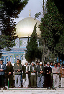 Jerusalem, Israel, November, 1980. Muslims praying infont of Dome of the Rock.