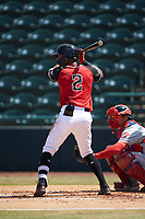 Chris Seise (2) of the Hickory Crawdads at bat against the Lakewood BlueClaws at L.P. Frans Stadium on April 28, 2019 in Hickory, North Carolina. The Crawdads defeated the BlueClaws 10-3. (Brian Westerholt/Four Seam Images)