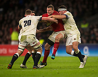 Wales' Hadleigh Parkes is tackled by Englands' Sam Underhill and Jamie George<br /> <br /> Photographer Bob Bradford/CameraSport<br /> <br /> NatWest Six Nations Championship - England v Wales - Saturday 10th February 2018 - Twickenham Stadium - London<br /> <br /> World Copyright &copy; 2018 CameraSport. All rights reserved. 43 Linden Ave. Countesthorpe. Leicester. England. LE8 5PG - Tel: +44 (0) 116 277 4147 - admin@camerasport.com - www.camerasport.com
