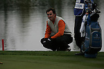 Gonzalo Fernandez-Castano lines up his putt on the 9th green during the 3rd round greensomes of the Seve Trophy at The Heritage Golf Resort, Killenard,Co.Laois, Ireland 29th September 2007 (Photo by Eoin Clarke/GOLFFILE)