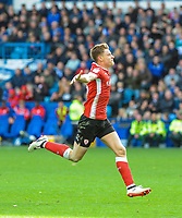 Barnsley's midfielder Harvey Barnes (15) celebrates goal number  3 of the season during the Sky Bet Championship match between Sheff Wednesday and Barnsley at Hillsborough, Sheffield, England on 28 October 2017. Photo by Stephen Buckley / PRiME Media Images.
