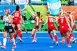 Sam Quek #13 of Great Britain leaps for joy during Argentina vs Great Britain in women's Pool B game  at the Rio 2016 Olympics at the Olympic Hockey Centre in Rio de Janeiro, Brazil.