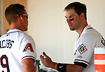 Reno Aces Mike Jacobs and Cole Gillespie talk in the dugout during the minor league baseball game between the Reno Aces and the Tacoma Rainiers in Reno, Nev., on Wednesday, May 30, 2012. The Aces won 13-5..Photo by Cathleen Allison