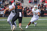 College Park, MD - November 3, 2018:  Michigan State Spartans running back Connor Heyward (11) follows his block during the game between Michigan St. and Maryland at  Capital One Field at Maryland Stadium in College Park, MD.  (Photo by Elliott Brown/Media Images International)
